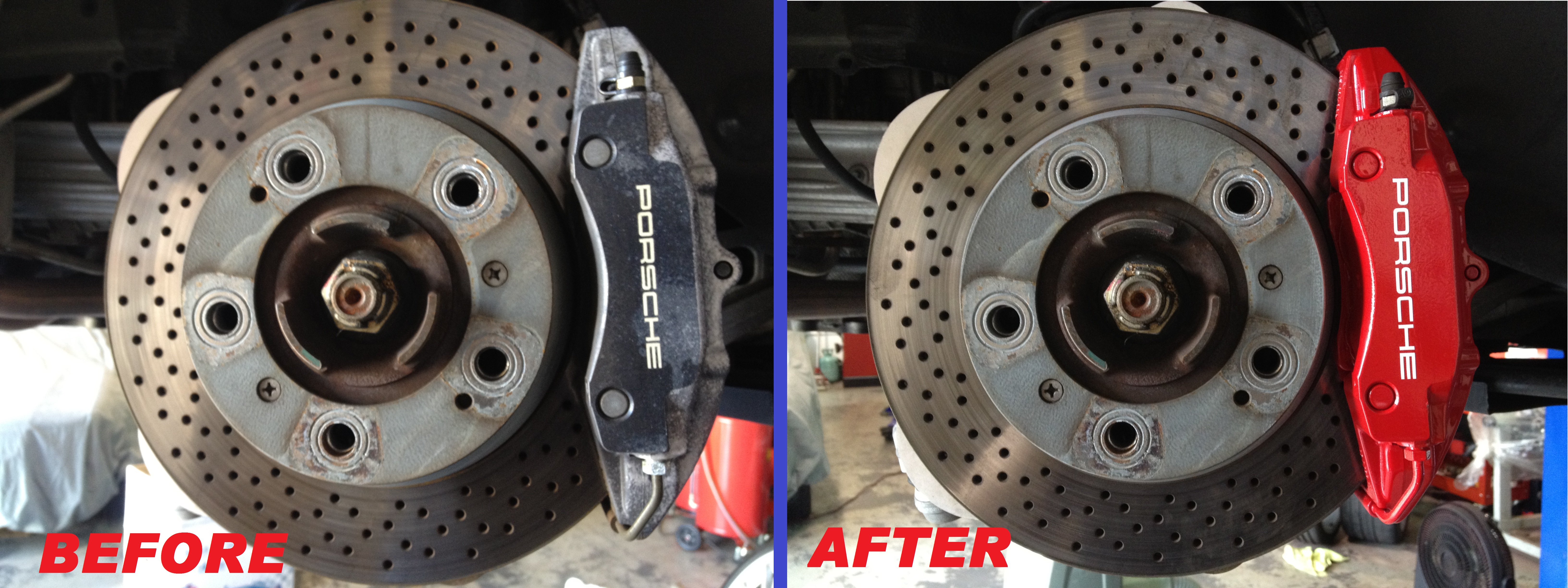 Brakecaliperpainting Porsche Red Beforeafter 001 Jpg